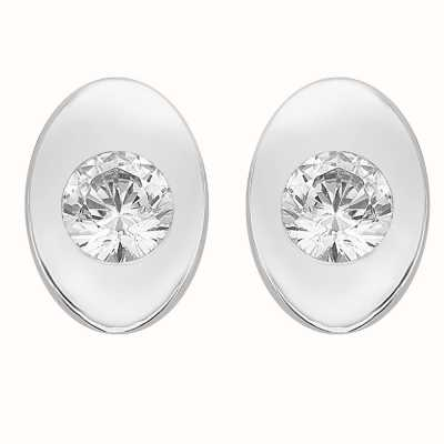 Perfection Swarovski Single Stone Rubover Oval Stud Earrings (0.15ct) E2168-SK