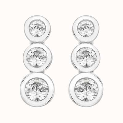 Perfection Swarovski Rubover Set Graduating Trilogy Stud Earrings (1.10ct) E2375-SK