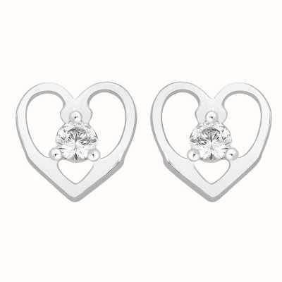 Perfection Swarovski Single Stone Stud Earrings in Heart Mount (0.15ct) E2667-SK