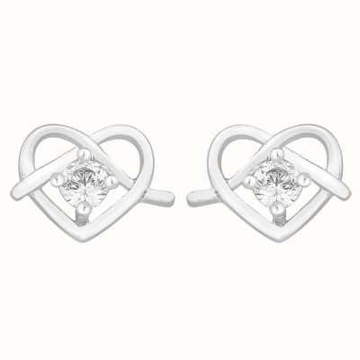 Perfection Swarovski Single Stone Stud Earrings in Heart Shape (0.10ct) E2759-SK