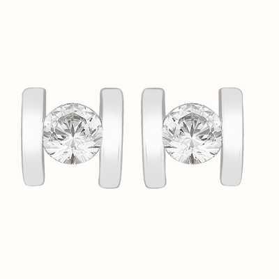 Perfection Swarovski Single Stone Bar Set Stud Earrings (0.20ct) E3254-SK