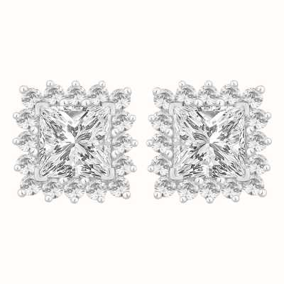 Perfection Swarovski Princess Cut Stud Earrings With Surround (2.30ct) E3923-SK