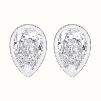 Perfection Swarovski Single Stone Rubover Pear Stud Earrings (1.50ct) E3933-SK