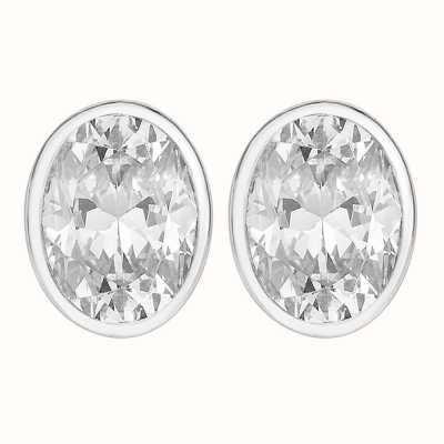 Perfection Swarovski Single Stone Rubover Oval Stud Earrings (2.50ct) E3936-SK