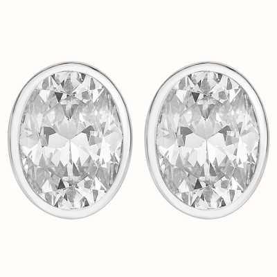 Perfection Swarovski Single Stone Rubover Oval Stud Earrings (1.50ct) E3942-SK