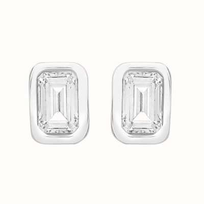 Perfection Swarovski Single Stone Rubover Emerald Stud Earrings (0.50ct) E4053-SK