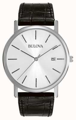 Bulova Mens Dress Silver Black Minimalist 96B104