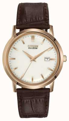 Citizen Mens Gold Tone Brown Leather Strap Eco-Drive BM7193-07B