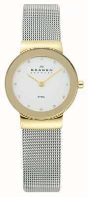 Skagen Womens Gold Tone Case Silver Mesh Bracelet Watch 358SGSCD