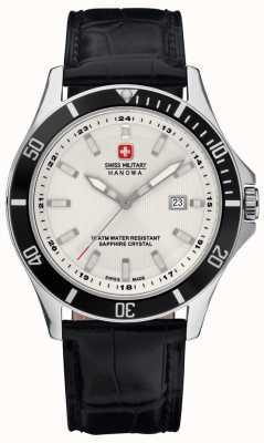 Swiss Military Hanowa Mens Flagship White Dial Black Bezel & Leather Strap 6-4161.2.04.001.07