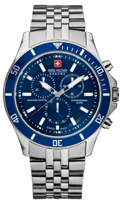 Swiss Military Hanowa Mens Flagship Blue Dial Stainless Steel Chronograph 6-5183.7.04.003