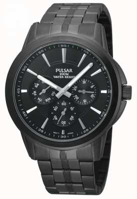 Pulsar Mens Black Ion-Plated Stainless Steel Watch PP6015X1