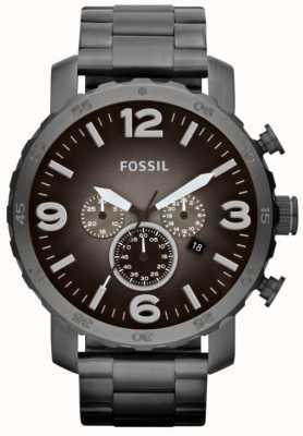 Fossil Mens Nate Smoke Stainless Steel Chronograph JR1437