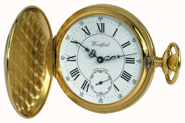 Woodford Gold-Plate Roman White Dial Mechanical Pocket Watch 1009