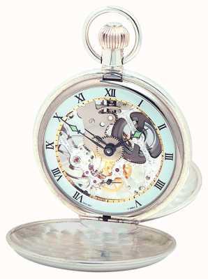 Woodford Sterling Silver Plain Skeleton Swiss Pocket Watch 1003