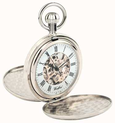 Woodford Full Hunter Chrome Plated Metal Skeleton Pocket Watch 1062