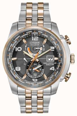 Citizen Mens World Time A-T Grey Dial Two-Tone Chronograph AT9016-56H