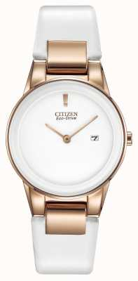 Citizen Womens' Axiom Gold-Plate White Ceramic Leather Strap Watch GA1053-01A