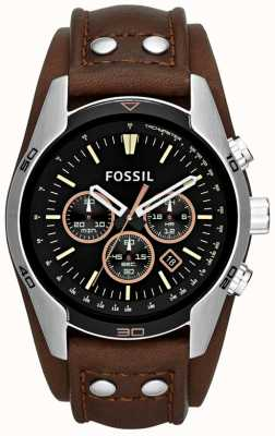 Fossil Mens Coachman Black Dial Brown Leather Cuff Strap Watch CH2891