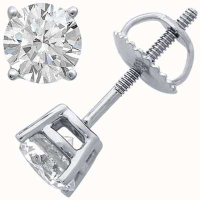 Certified Diamond Earrings Four Claw 1.00ct H SI Screw Back Fittings C100PT-4CLAW-HSI