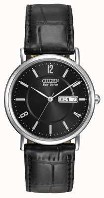 Citizen Mens Black Leather Strap Eco-Drive BM8240-03E
