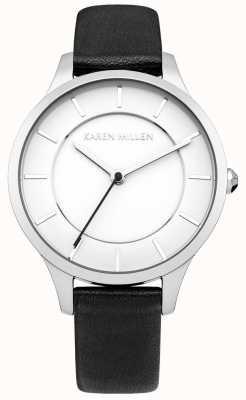 Karen Millen Womens' Black Ion Plated Steel Leather Strap Watch KM133BA