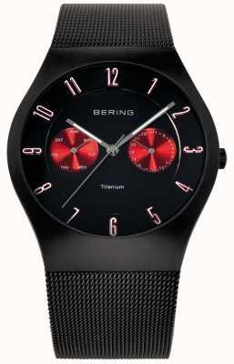 Bering Mens Titanium Black Red Accent Mesh Strap Watch 11939-229