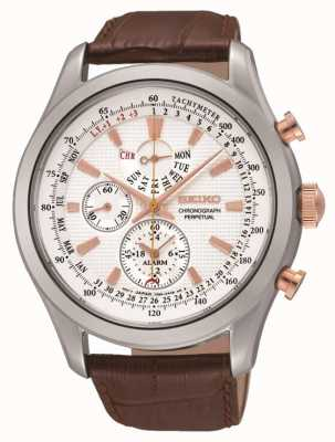 Seiko Mens Stainless Steel White Dial Brown Leather Watch SPC129P1