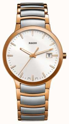 Rado Centrix Two Tone Stainless Steel White Dial Watch R30554103
