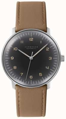 Junghans Mens Max Bill Automatic Black Dial Brown Leather Watch 027/3401.04