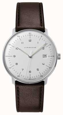 Junghans Mens Max Bill Quartz White Dial Brown Leather Watch 041/4461.04