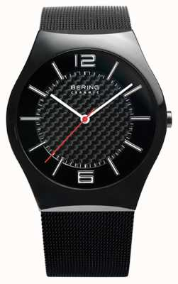 Bering Mens Black IP, Mesh Strap, Ceramic Watch 32039-449