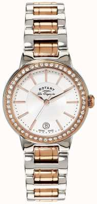 Rotary Womens Les Originales Rose Gold Steel Crystal Set Watch LB90083/02