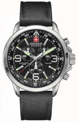 Swiss Military Hanowa Mens Stainless Steel Black Dial Black Leather Chronograph 6-4224.04.007