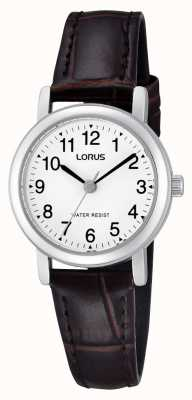 Lorus Womens Stainless Steel Leather Strap Watch RRS57UX9