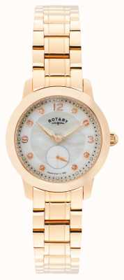 Rotary Womens Cambridge, Rose Gold, Pearl, Crystal LB02702/41