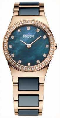 Bering Womens Blue Ceramic, Rose Gold, Pearl Dial 32426-767