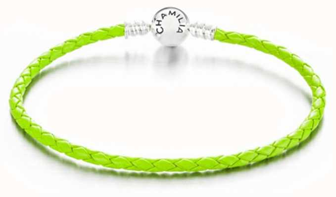 Chamilia Large Braided Green Leather Bracelet with Round Snap Closure 1030-0132