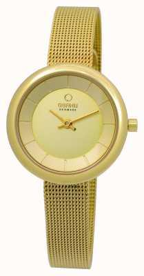 Obaku Womens PVD Gold Plate Mesh Bracelet V146LXGGMG
