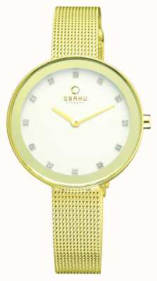 Obaku Womens | PVD Gold Plate Face | Stainless Steel Mesh Bracelet V161LXGIMG