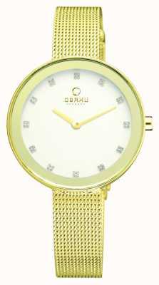 Obaku Womens Slim PVD Gold Plate Mesh Bracelet V161LXGIMG