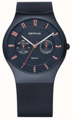 Bering Mens Classic, Dark Blue Titanium, Orange Accent 11939-393