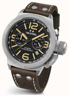 TW Steel Mens Canteen 50mm Chrono Brown Leather Strap CS34
