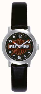 Harley Davidson Womens Black Leather Strap Watch 76L10