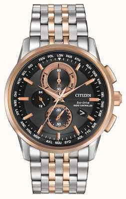 Citizen Mens Eco-Drive World Chrono A-T Steel & Rose Gold AT8116-57E