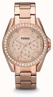 Fossil Womens Riley Rose Gold PVD Plated ES2811