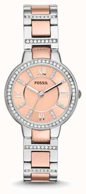 Fossil Womens Virginia Two Tone Pink Dial ES3405