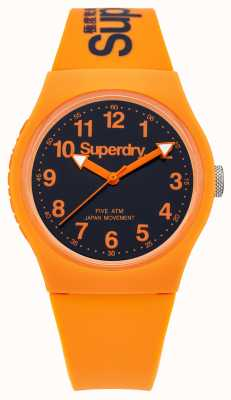 Superdry Mens Urban Orange Rubber Strap Black Dial SYG164O