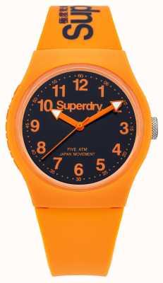 Superdry Mens Urban Orange Rubber Strap Black Dial SYG164O