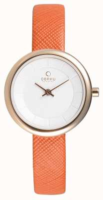 Obaku Womens Orange Leather Rose Gold PVD V146LXVIRO